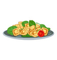 italian pasta with spinach icon cartoon style vector image