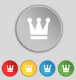 King Crown icon sign Symbol on five flat buttons vector image vector image