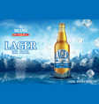 Lager light beer ads realistic premium beer in