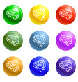 machine brain icons set vector image