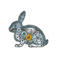 mechanical rabbit animal color sketch engraving vector image
