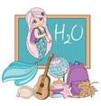 mermaid school school autumn sea vector image vector image