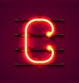 neon font letter c art design signboard vector image vector image