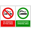 No smoking and Smoking area labels vector image vector image