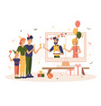 online quarantine birthday party with family vector image
