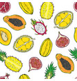 pattern of exotic fruits on a wight background vector image vector image