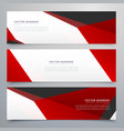red and white geometric banners set design vector image