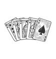 royal flush sketch engraving vector image