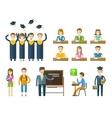 school college icons set graduate university vector image