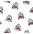 seamless pattern cute shark isolated on white vector image vector image