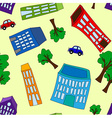 Seamless pattern of buildings and trees vector image vector image