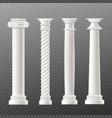 set antique columns or pillars realistic vector image