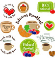 set good morning breakfast labels emblems and vector image vector image