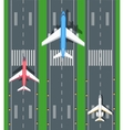 Set of Aviation Airplanes on Runways vector image vector image