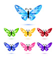 Set of diamond butterflies vector image