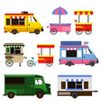 set of food trucks and bicycles for commercial use vector image