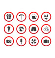 set of travel prohibition icons beach restriction vector image vector image