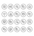 set round line icons of hosting vector image