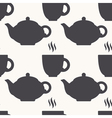 Silhouette of teapot and tea cup seamless pattern vector image vector image