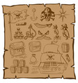 treassure map with pirate symbols vector image