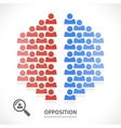 Two opposite teams with different opinions vector image