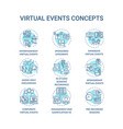 virtual events concept icons set vector image