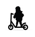 child on scooter silhouette vector image