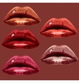 Set red the girl of lips A vector image