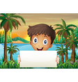 A young boy at the riverbank holding an empty vector image