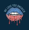 america lips flag we love you america artwork vect vector image