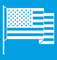 american flag icon white vector image vector image