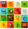 bbq party colorful icons vector image vector image