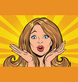 beautiful female emotional reaction vector image vector image