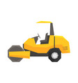big yellow road roller heavy construction machine vector image vector image