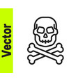 black line skull on crossbones icon isolated on vector image vector image