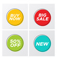 bright flat sale buttons with discount offers vector image vector image