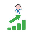 businessman character running on sales chart vector image