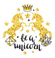 card with fantasy unicorn and gold glitter texture vector image vector image