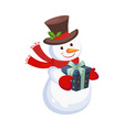 cheerful snowman holding a present holiday vector image