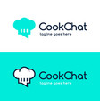 circle color cook chef chat logo design chef chat vector image vector image