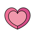 color cute heart to passion symbol style vector image vector image