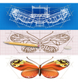 Creative architectural banners with a butterfly vector image vector image
