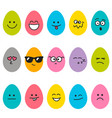 cute easter eggs with different emotions vector image vector image