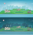 day and night suburban landscape cityscape vector image vector image