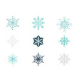 flat blue different shape snowflakes set vector image