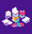 flat books concept literature school course vector image