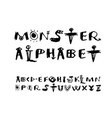 funny cartoon monster alphabet drawn font vector image