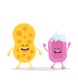 funny sponge and pink soap with bubbles vector image vector image