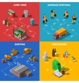 Garbage Recycling Isometric Concept Icons Set vector image vector image