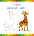 Giraffe coloring book educational game vector image vector image